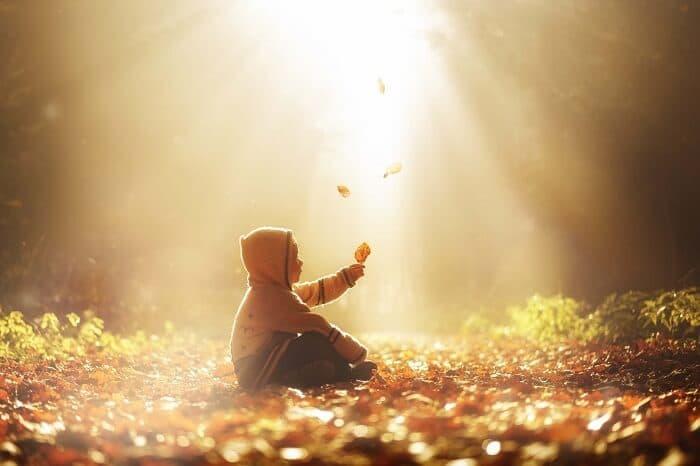 枯れ葉の中にいる少年